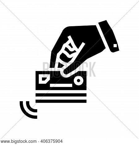 Hand Holding Card With Contactless Payment Chip Glyph Icon Vector. Hand Holding Card With Contactles