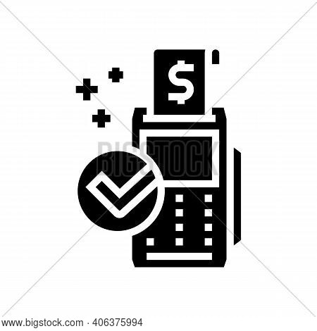 Accept Payment Pos Terminal Glyph Icon Vector. Accept Payment Pos Terminal Sign. Isolated Contour Sy