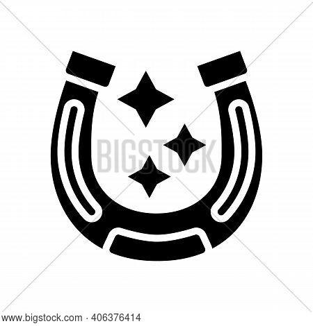 Lucky Horseshoe Lotto Glyph Icon Vector. Lucky Horseshoe Lotto Sign. Isolated Contour Symbol Black I