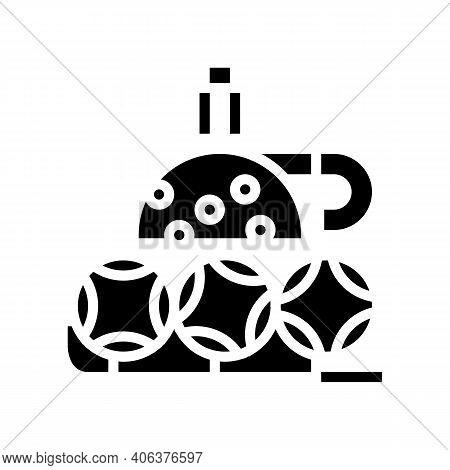 Wheel And Balls Lotto Glyph Icon Vector. Wheel And Balls Lotto Sign. Isolated Contour Symbol Black I