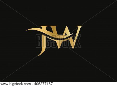 Initial Jw Letter Linked Logo Vector Template. Swoosh Letter Jw Logo Design. J W Logo Design With Mo