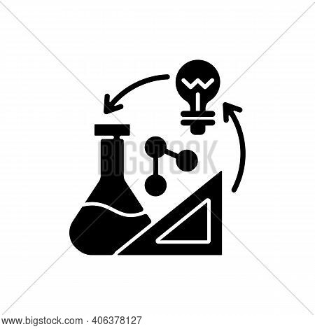 Creativity In Stem Black Glyph Icon. Creative Thinking Idea. Professional Information Analysis. Exam