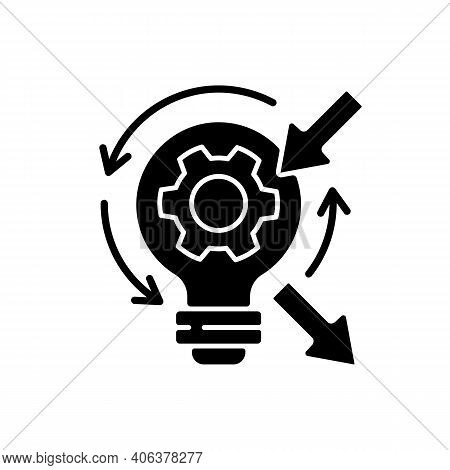 Reflection Black Glyph Icon. High Skill Thinking And Analysing. Creative Critical Thinking. Proffesi