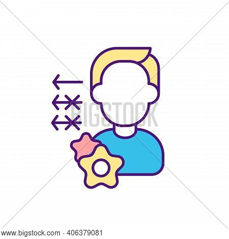 Key Worker In Workplace Rgb Color Icon. Team Members Roles And Responsibilities. Handling Tasks. Pla