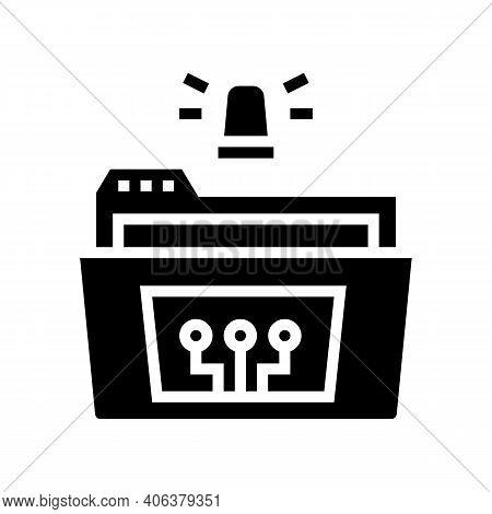Folder With Debug Report Glyph Icon Vector. Folder With Debug Report Sign. Isolated Contour Symbol B