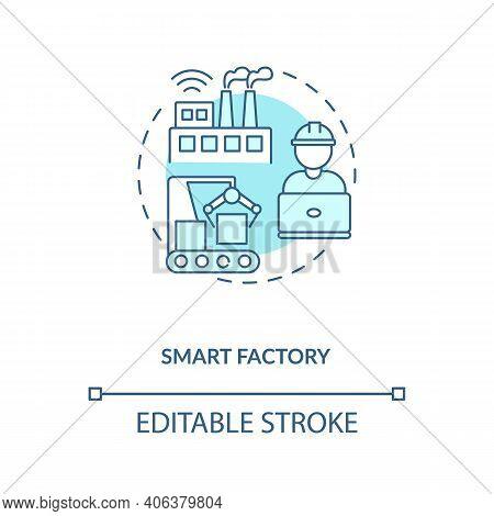 Smart Factory Concept Icon. Industry 4.0 Trend Idea Thin Line Illustration. Maximum Production Flexi