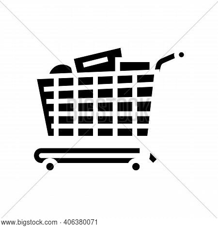 Shop Cart With Purchases Glyph Icon Vector. Shop Cart With Purchases Sign. Isolated Contour Symbol B