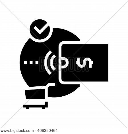 Contactless Payment With Phone App Glyph Icon Vector. Contactless Payment With Phone App Sign. Isola