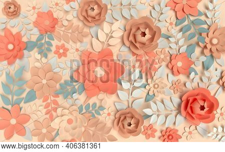 Paper Elegant Pastel Colored Flowers On Beige Background. Valentine's Day, Easter, Mother's Day, Wed