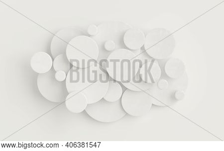 Round Disc Abstract Background, Depth Of Field Effect. Modern Cellular 3d Panel With Circles, Cerami