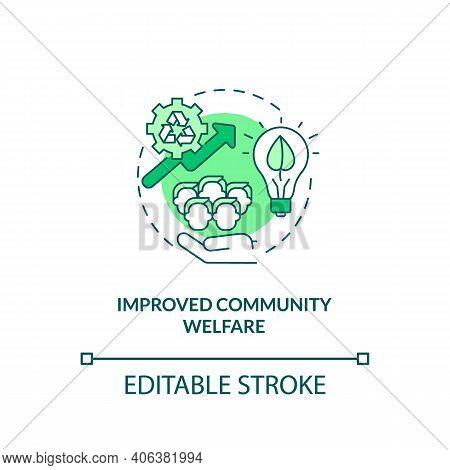 Improved Community Welfare Concept Icon. Organic Waste Reduction Idea Thin Line Illustration. Reduci