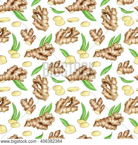 Ginger Root Seamless Pattern With Slices And Leaves. Hand Drawn Watercolor Ginger Rhizome Design Iso