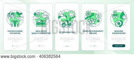 Organic Waste Reducing Onboarding Mobile App Page Screen With Concepts. Climate Change, Community We