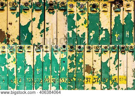Collection Of Images With Old Weathered Colorful Iron Mailboxes