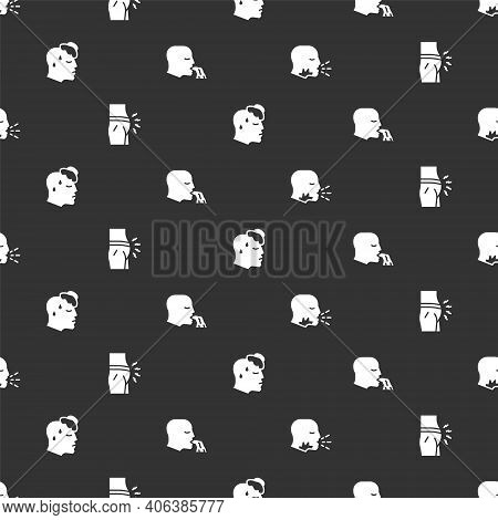Set Man Coughing, Abdominal Bloating, High Human Body Temperature And Vomiting On Seamless Pattern.