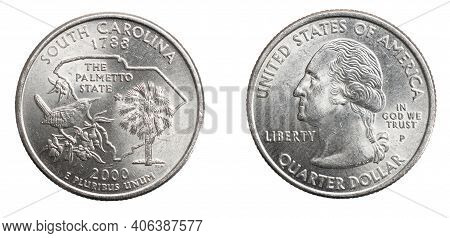 Quarter Of A Us Dollar Coin Isolated On White Background