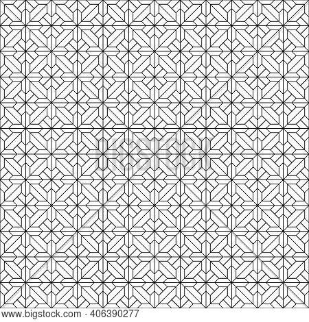 Seamless Geometric Pattern . Black Color. Fine Lines