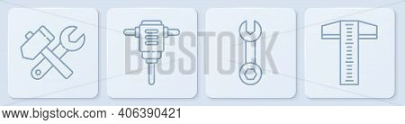 Set Line Hammer And Wrench Spanner, Wrench Spanner, Electric Rotary Hammer Drill And T-square Line.