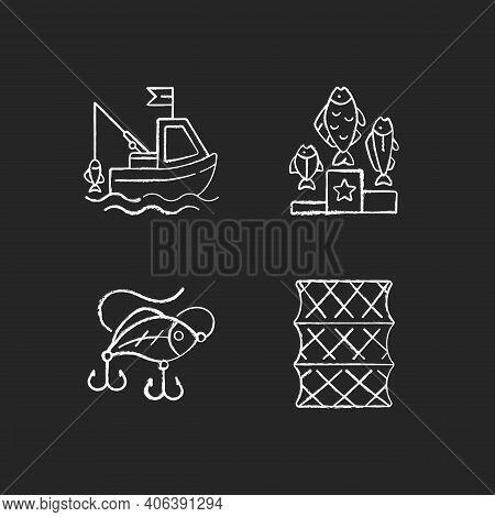 Fishing Gear Chalk White Icons Set On Black Background. Boat Fishing. Variety Of Plastic Baits, Wobb