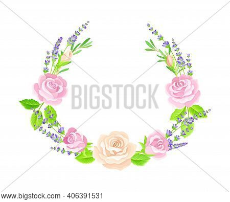 Semicircle Floral Frame With Lavender Twigs And Rose Buds Vector Illustration