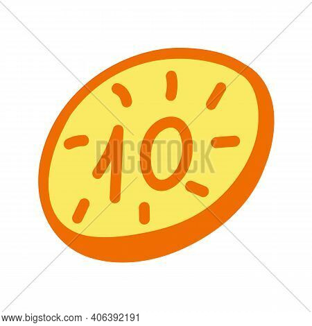 Coin On White Background. Doodle Vector Icon. Orange And Yellow Hand Drawn Money Clipart.
