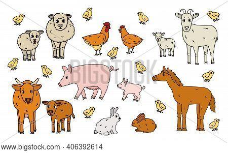 Set Of Cute Doodle Outline Vector Cartoon Animals At The Farm. Sheep, Ram, Cow, Bull, Calf, Chicken,
