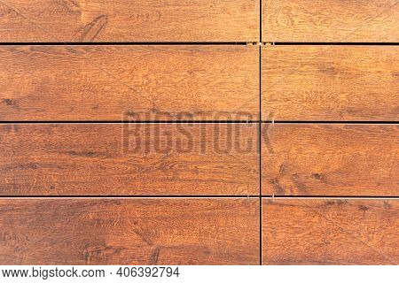 Building Cladding With A Ventilated Facade, Wooden Texture, Brown Wood Pattern