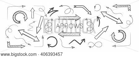 Set Arrow Icon. Hand Drawn Arrows. Set Of Vector Curved Arrows. Sketch Doodle Style. Vector Illustra