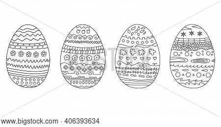 Easter Eggs Doodle Set. Easter Eggs Hand Drawn Decorative Elements In Vector For Coloring Book. East