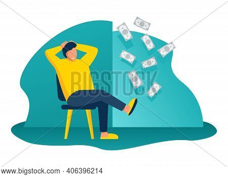 Passive Incomes - Business Cartoon Concept, Resting Person Earning Money. Vector Illustration