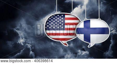 Usa And Finland Communication. Trade Negotiation Talks. 3d Rednering