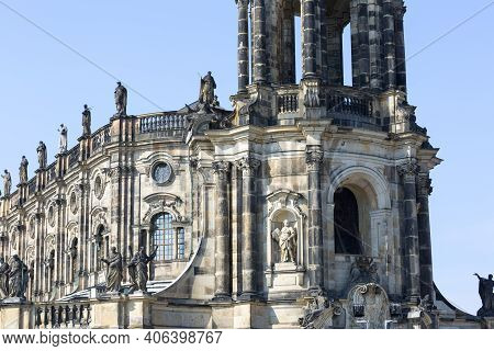 Dresden, Germany - September 23, 2020 : 18th Century Baroque Dresden Cathedral Also Called Cathedral