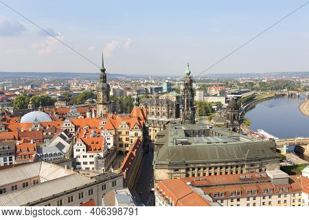 Dresden, Germany - September 23, 2020 : Aerial View Of The Dresden Cathedral And Historic Part Of Th