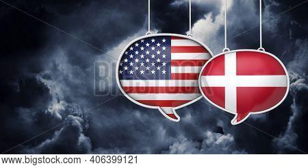 Usa And Denmark Communication. Trade Negotiation Talks. 3d Rednering
