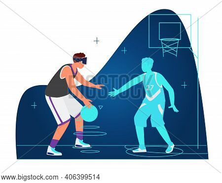 Vr Workout And Sport Concept Vector Illustration. Man In Vr Headset Playing Basketball With Virtual