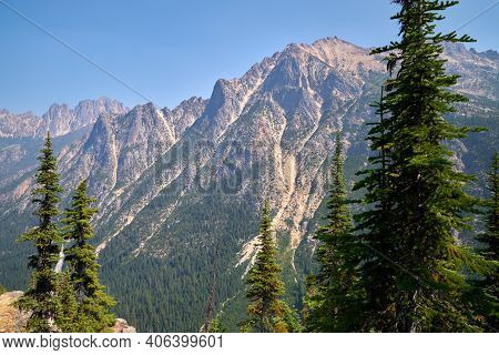 Rainy Pass North Cascades National Park. Mountain peaks in North Cascades National Park. Washington State, USA.