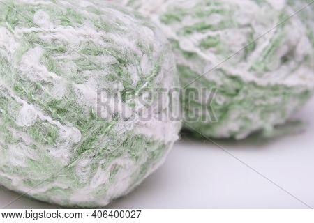 Light Green Yarn, Pale Pastel Color Woolen Yarn On White Background