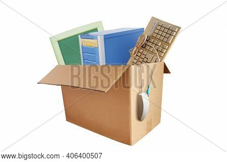 Old And Obsolete Desktop Computer Hardware Accessories, Electronic Waste In Paper Boxes Isolated On