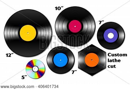 Vinyl Lp And Ep Collection With Various Sizes Of Music Media