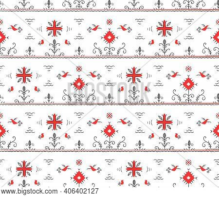 Isolated Seamless Vector Pattern. Stylized Russian Folklore.