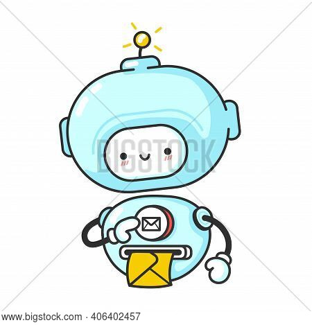 Funny Cute Robot, Chat Bot Prints Letter. Vector Flat Line Cartoon Kawaii Character Illustration Ico