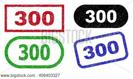 300 Grunge Watermarks. Flat Vector Textured Watermarks With 300 Slogan Inside Different Rectangle An