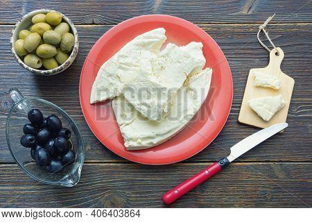 Balkan Cuisine. Montenegro. Pljevaljski Cheese  - Local Soft White Cheese Traditionally Produced Fro