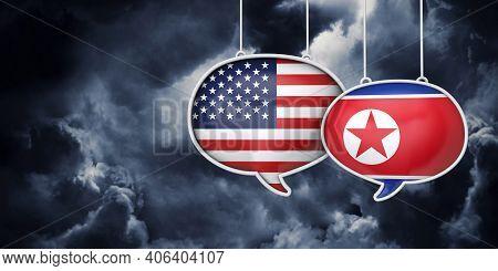 Usa And North Korea Communication. Trade Negotiation Talks. 3d Rednering