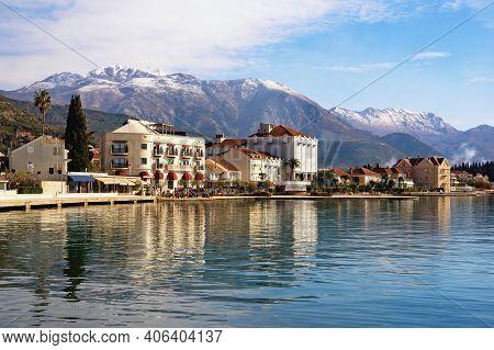 Beautiful Mediterranean Landscape On Sunny Winter Day. Embankment Of Tivat City.  Montenegro, Adriat