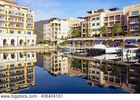 Tivat City, Montenegro - January 28 2021: View Of Embankment In Porto Montenegro Village