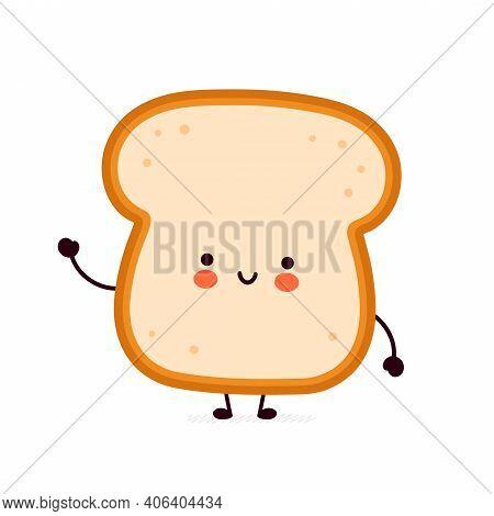 Cute Funny Bread Toast Character. Vector Flat Line Cartoon Kawaii Character Illustration Icon. Isola