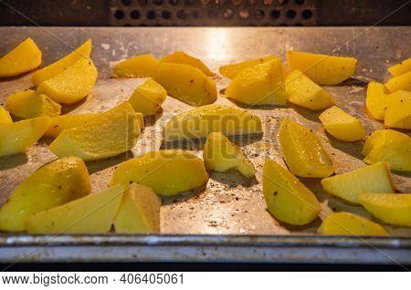 Potato Wedges, Oven Baked, On Baking Tray,