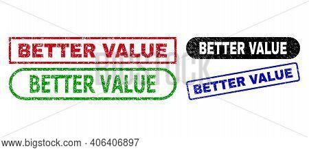 Better Value Grunge Seal Stamps. Flat Vector Grunge Stamps With Better Value Caption Inside Differen