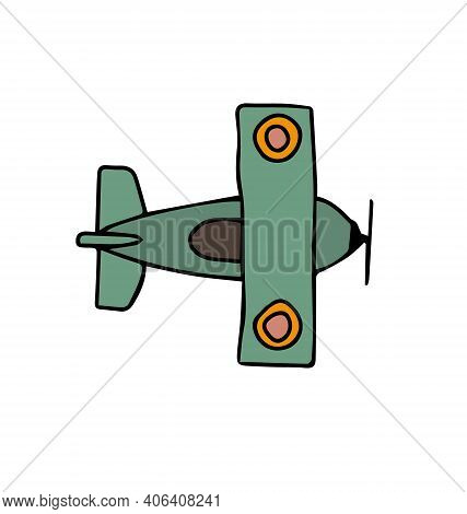 Cute Biplane - Green - Top Down View - Cartoony Vector Isolated